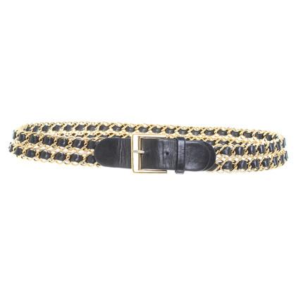 Chanel Cintura in pelle con elementi di una catena
