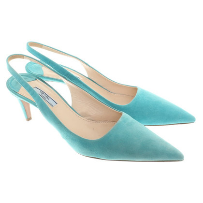 Prada Sling-pumps Suede Turquoise