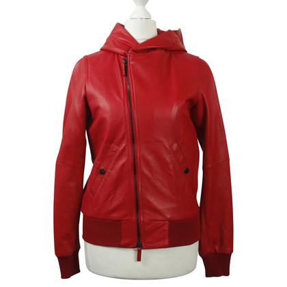 Y-3 Leren jas rood