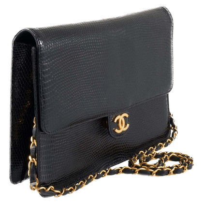 "Chanel 10"" Classic Lizard Leather Flap Bag"