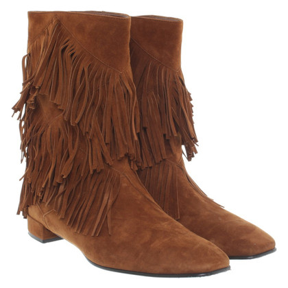 Roger Vivier Suede Ankle Boots with fringe