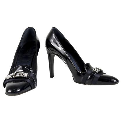 Gucci Cuoio nero brevettato classico pumps