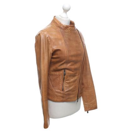 René Lezard Leather jacket in cognac