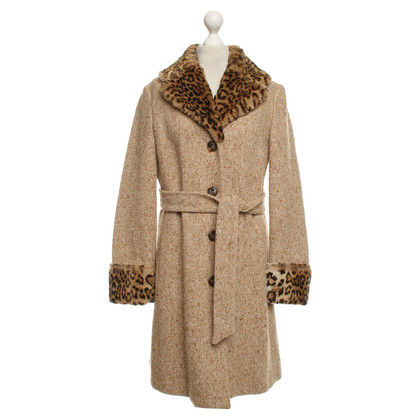 Moschino Love Coat with woven fur collar