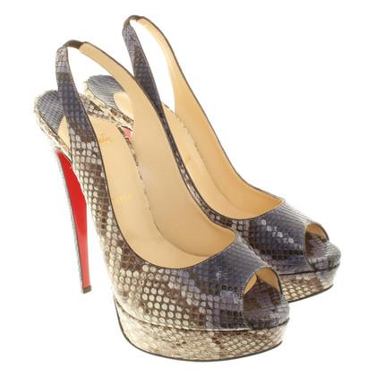 Christian Louboutin Python leather peep toes