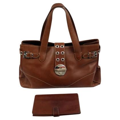 Bogner Brown Leren de hand tas met portemonnee