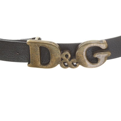 D&G Black belt with logo buckle