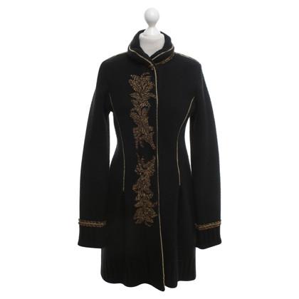 Roberto Cavalli Knit coat in black