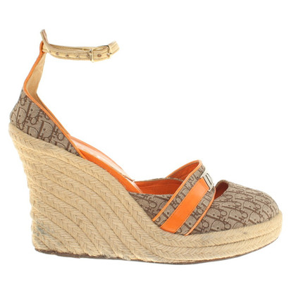 Christian Dior Wedges in Beige / Orange