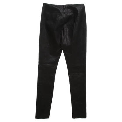 Bottega Veneta Pantaloni di pelle in marrone scuro