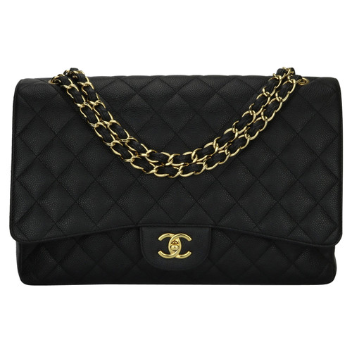 77e08b20af9b Chanel Classic Flap Bag Maxi Leather in Black - Second Hand Chanel ...