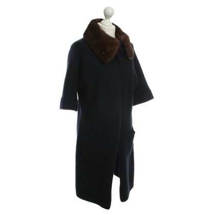 Allude Cashmere sweater coat with fur collar