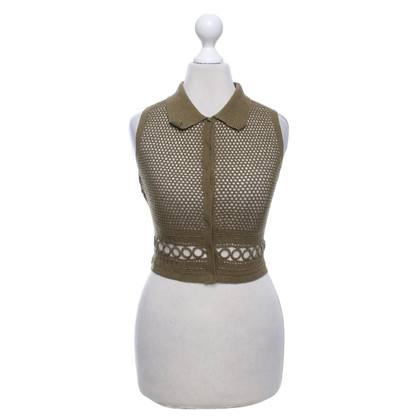 Philosophy di Alberta Ferretti Short crochet vest in olive