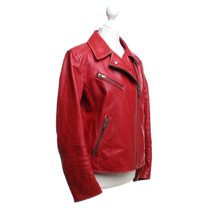 Prada biker jacket in red