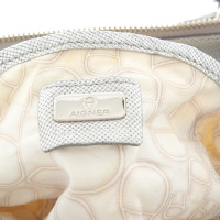 Aigner Handbag in silver and white colors