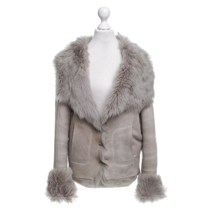 Plein Sud Fur jacket in beige