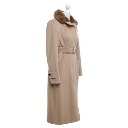 Max Mara Kameel-gekleurde jas met bontkraag