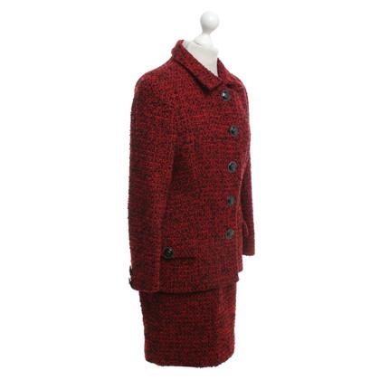 Versace Bouclé costume in red / black