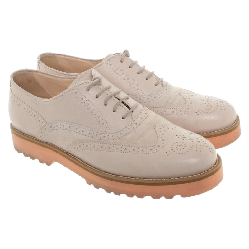 Hogan Lace up shoes Leather in Beige Second Hand Hogan