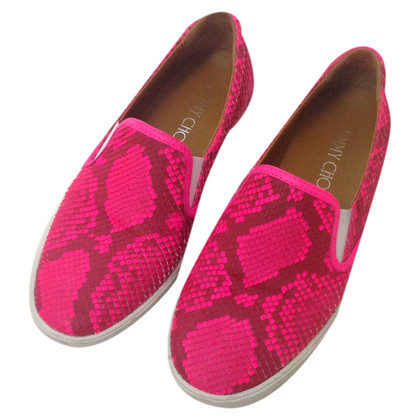 Jimmy Choo Python leather slip ons