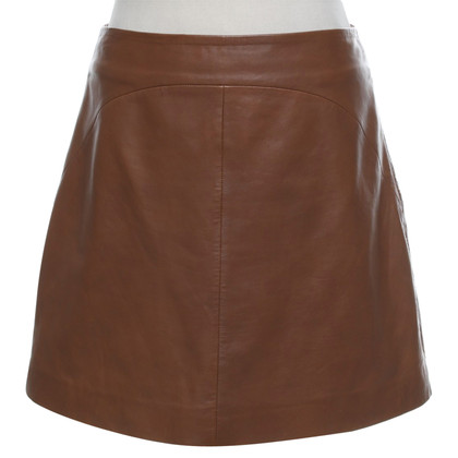 Reiss Leather skirt in brown