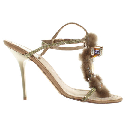 René Caovilla Sandals with fur trim