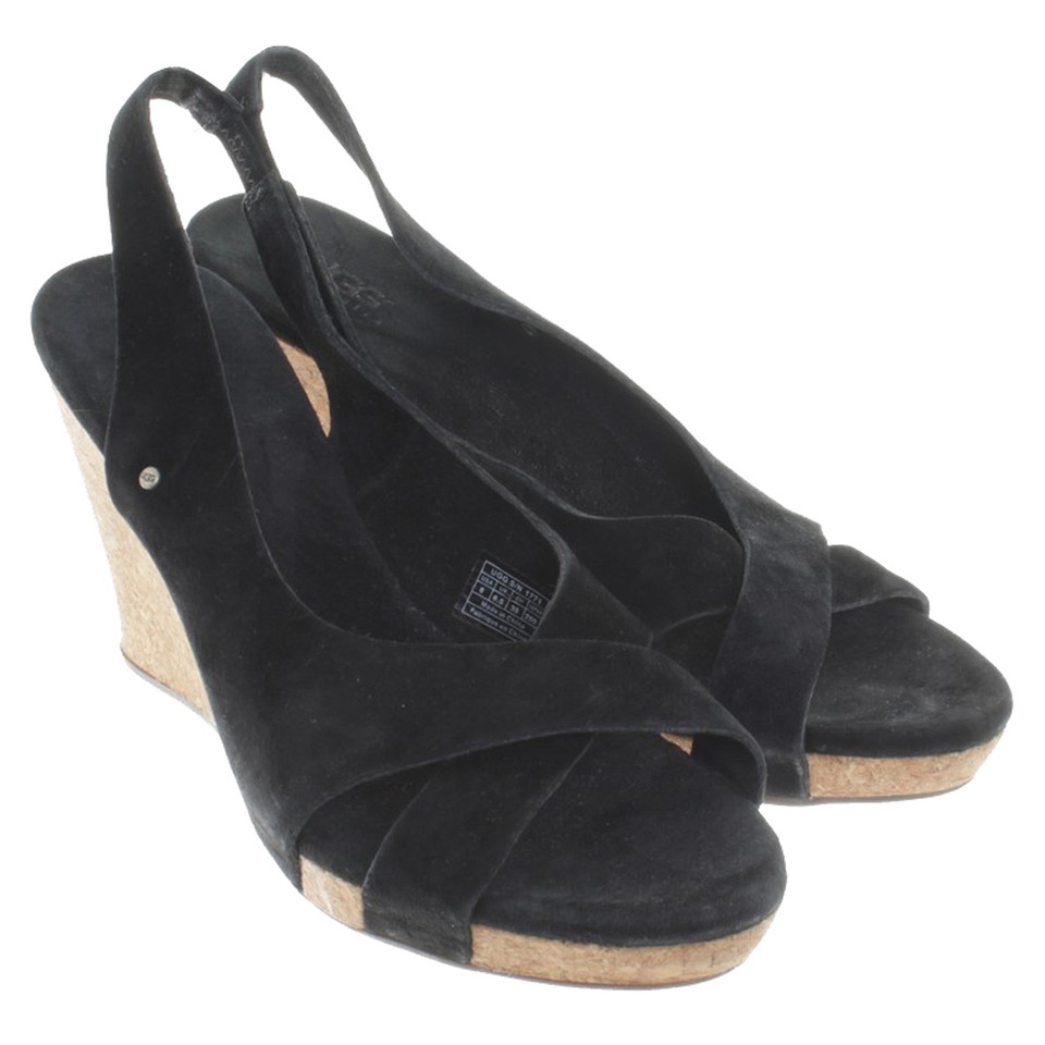 ugg australia wedge sandals in black buy second ugg