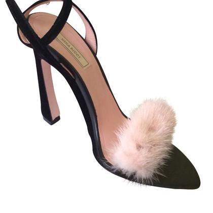 Nina Ricci sandali in velluto pelliccia di visone