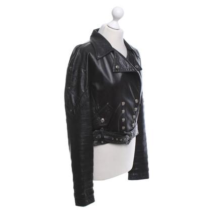 Roberto Cavalli Vintage leren jas in zwart