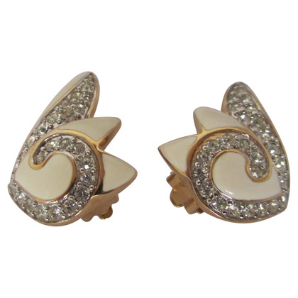 Nina Ricci Strass emaille clip on earrings.