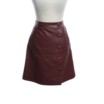 By Malene Birger Leather skirt in Bordeaux