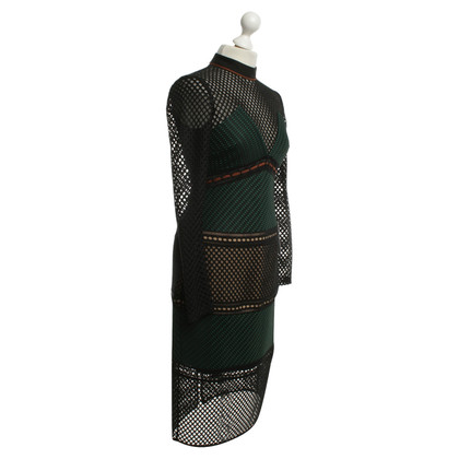 Self-Portrait Dress in black / green