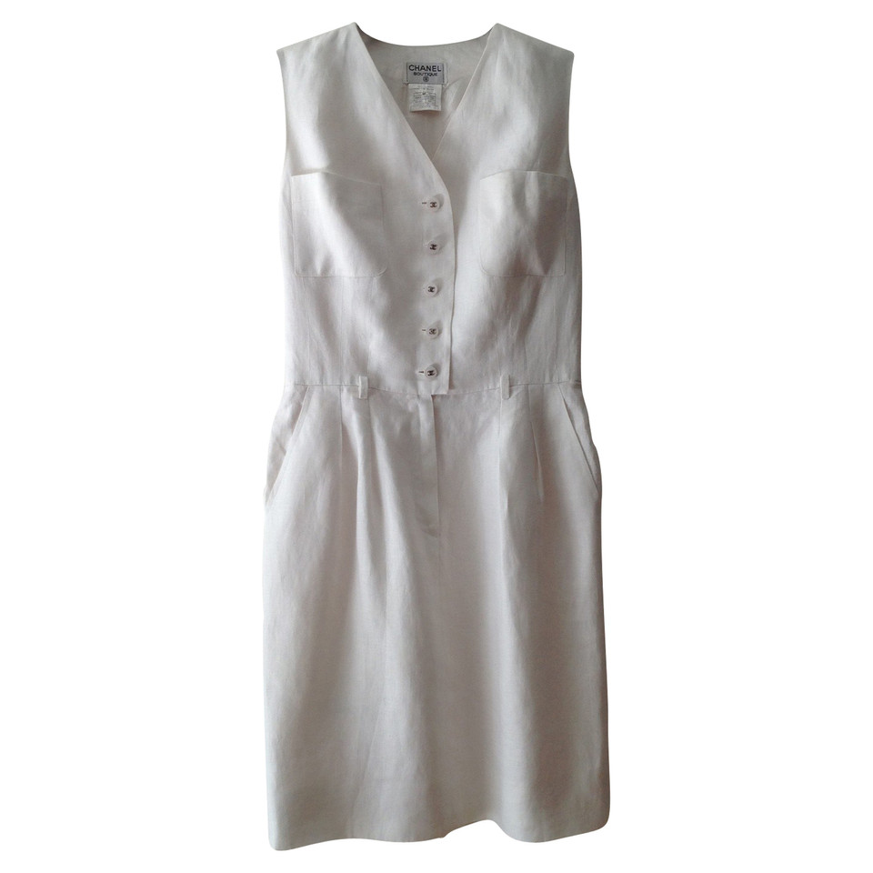 Chanel Robe en lin blanc
