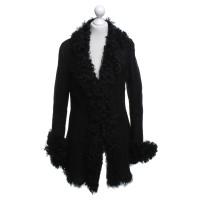 Vent Couvert Pelle di pecora cappotto in nero