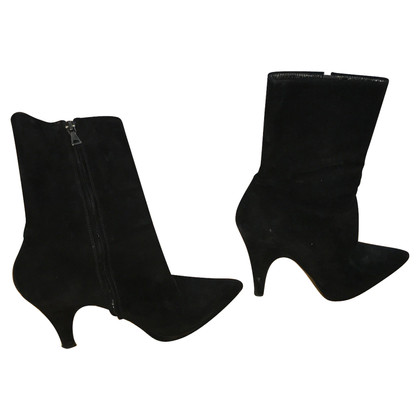 Prada  Lace black suede leather boots