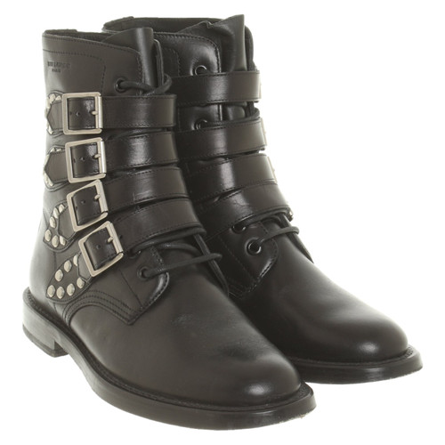 a2bb4d3d8da Yves Saint Laurent Ankle boots Leather in Black - Second Hand Yves ...