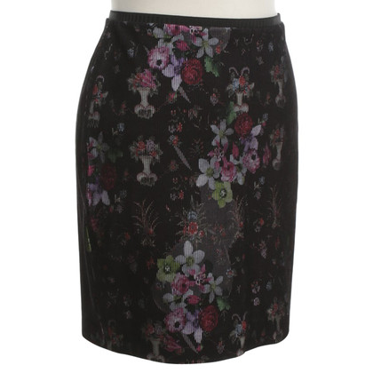 Marc Cain Cord skirt with floral pattern