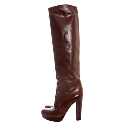 Prada  brown leather platform boots