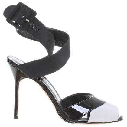 Manolo Blahnik Patent leather Sandals black grey