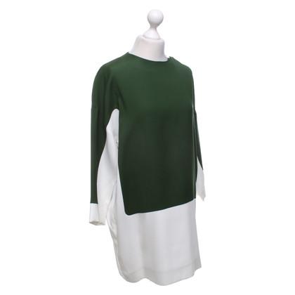 Céline Dress in green / cream white