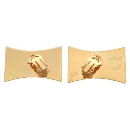 Chanel Clips d'oreilles de couleur or avec logo