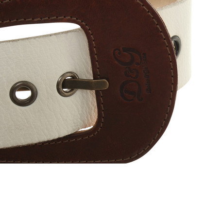 Dolce & Gabbana Leather belt in cream white