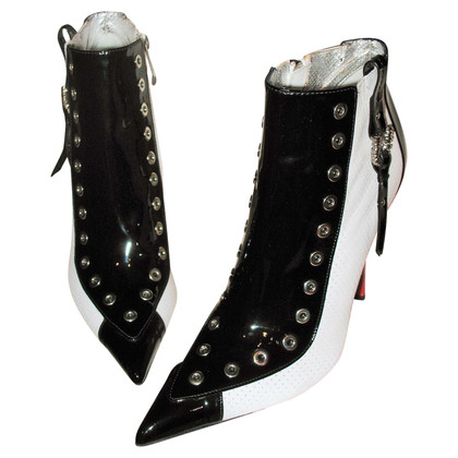 Gianmarco Lorenzi Patent leather tricolore boots