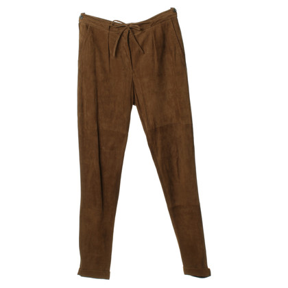 René Lezard Leather pants in Brown