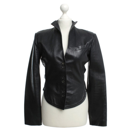 Brioni Leather Blazer in black
