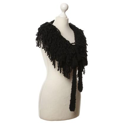 Marc Cain Fringe sjaal in zwart