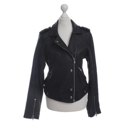 Iro Leren jas in zwart