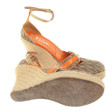Christian Dior Orange Beige Beige Dior Orange Wedges Wedges Wedges in Beige Christian Christian in Beige Dior vqABE