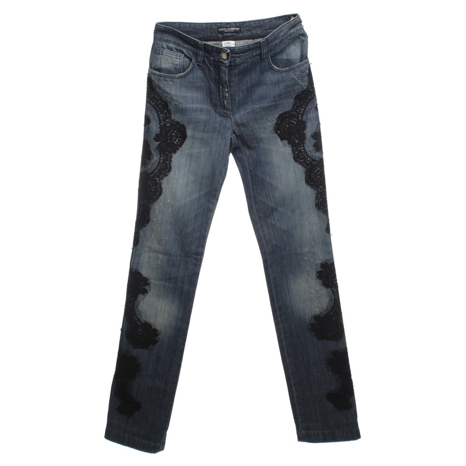 Dolce & Gabbana Jeans with lace trim