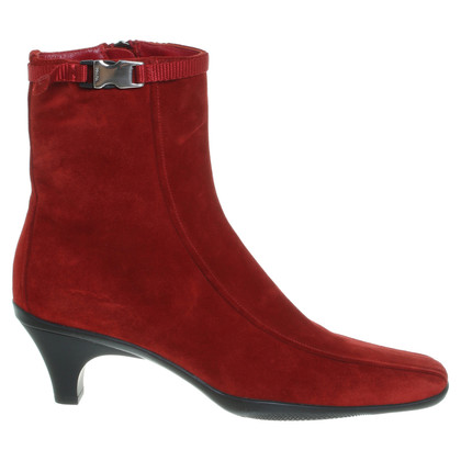 Prada Red Suede Ankle Boots
